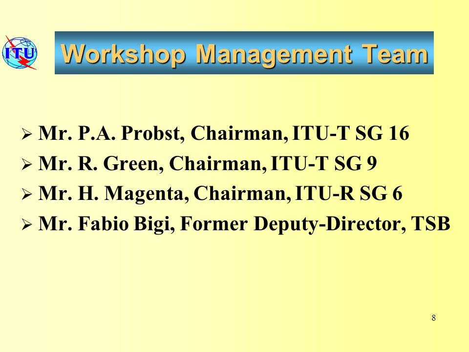 Workshop Management Team Mr. P.A. Probst, Chairman, ITU-T SG 16 Mr.