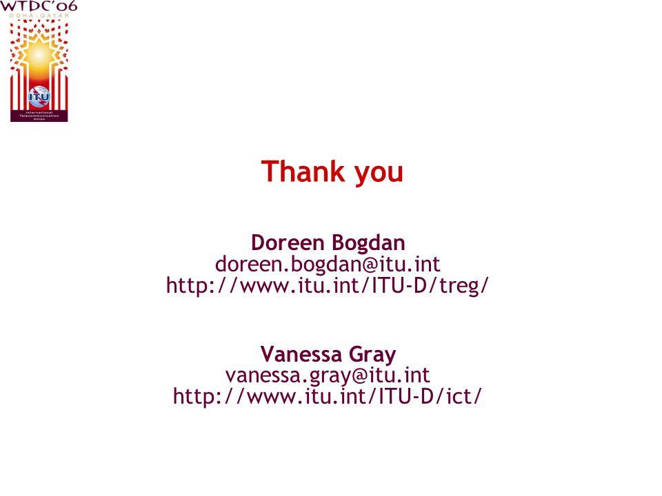 Thank you Doreen Bogdan doreen.bogdan@itu.int http://www.itu.int/ITU-D/treg/ Vanessa Gray vanessa.gray@itu.int http://www.itu.int/ITU-D/ict/