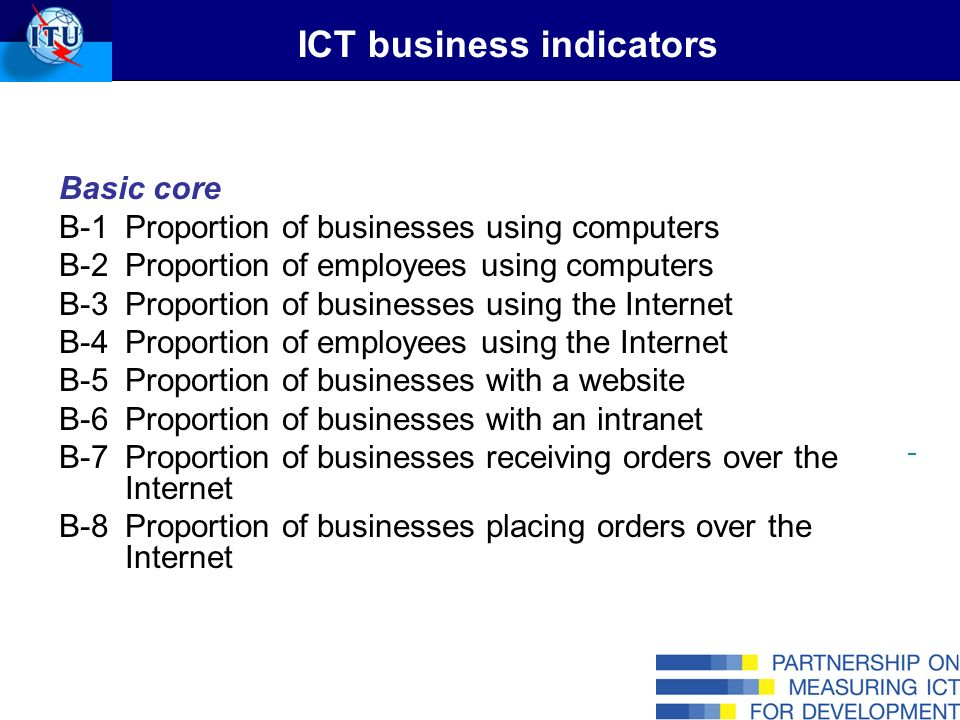 Extended core B-9Proportion of businesses accessing the Internet by modes of access B-10Proportion of businesses with a Local Area Network (LAN) B-11Proportion of businesses with an extranet B-12Proportion of businesses using the Internet by type of activity –Internet e-mail –Getting information About goods or services From government organisations/public authorities via websites or e-mail Other information searches or research activities –Performing Internet banking or accessing other financial services –Dealing with government organisations/public authorities –Providing customer services –Delivering products online ICT business indicators (cont.)
