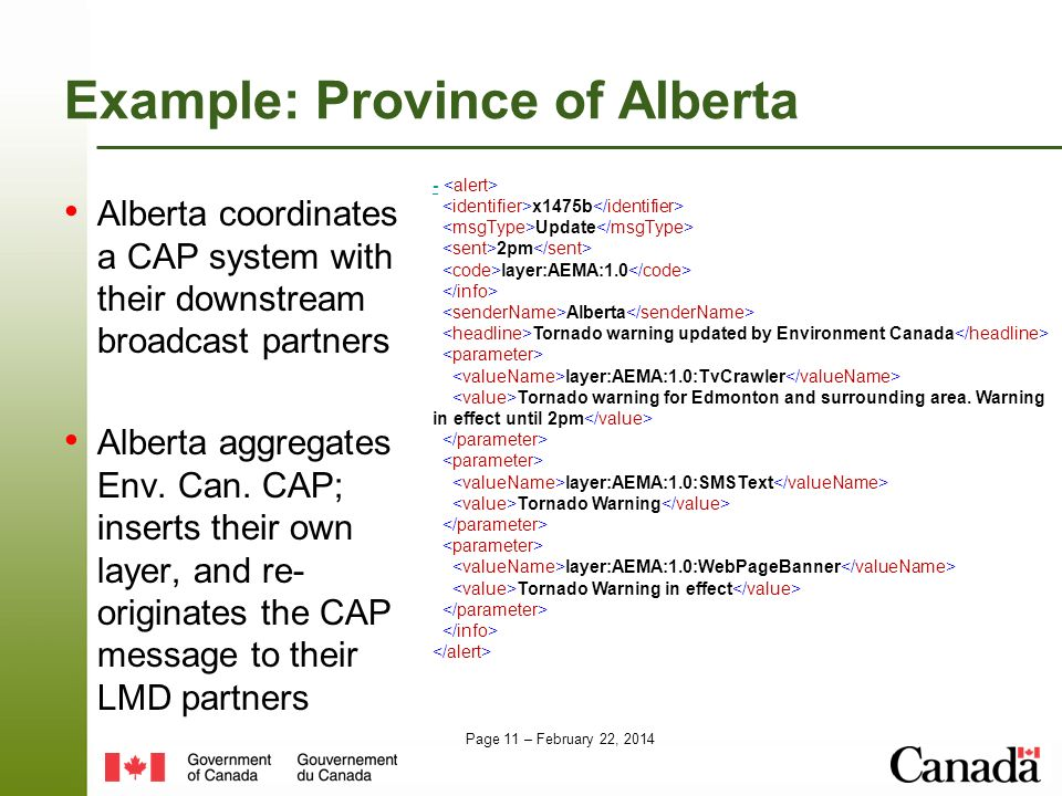 Page 11 – February 22, 2014 Example: Province of Alberta Alberta coordinates a CAP system with their downstream broadcast partners Alberta aggregates Env.