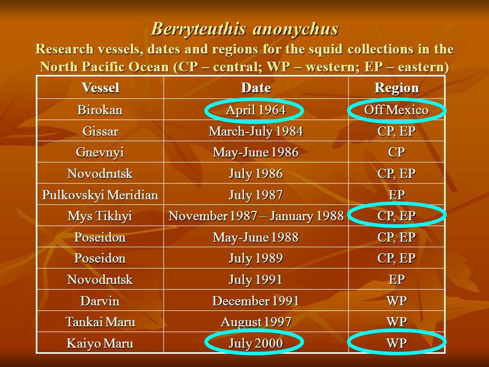 Berryteuthis anonychus Research vessels, dates and regions for the squid collections in the North Pacific Ocean (CP – central; WP – western; EP – eastern) VesselDateRegion Birokan April 1964 Off Mexico Gissar March-July 1984 CP, EP Gnevnyi May-June 1986 CP Novodrutsk July 1986 CP, EP Pulkovskyi Meridian July 1987 EP Mys Tikhyi November 1987 – January 1988 CP, EP Poseidon May-June 1988 CP, EP Poseidon July 1989 CP, EP Novodrutsk July 1991 EP Darvin December 1991 WP Tankai Maru August 1997 WP Kaiyo Maru July 2000 WP