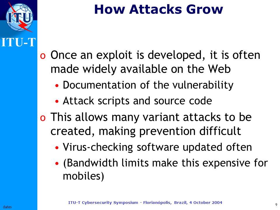 ITU-T ITU-T Cybersecurity Symposium - Florianópolis, Brazil, 4 October 2004 10 dates Differences: Mobiles vs.