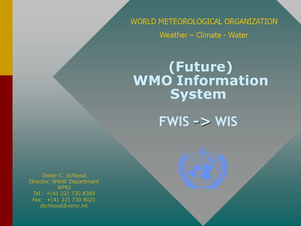 -> (Future) WMO Information System FWIS -> WIS WORLD METEOROLOGICAL ORGANIZATION Weather – Climate - Water Dieter C. Schiessl Director, WWW Department
