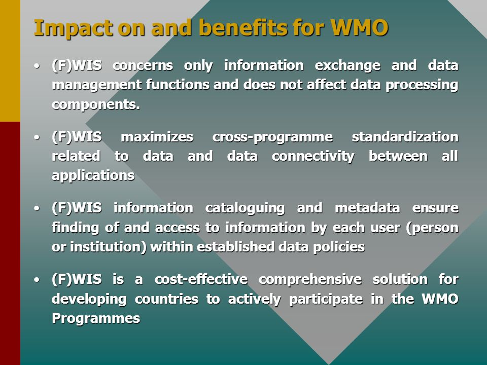 Impact on and benefits for WMO (F)WIS concerns only information exchange and data management functions and does not affect data processing components.