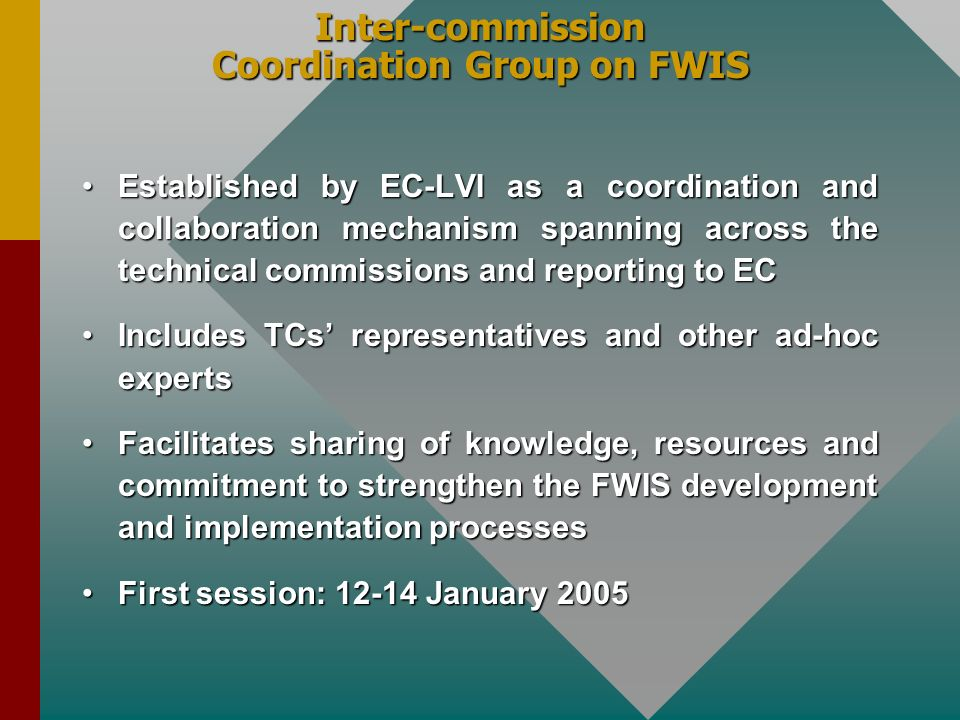 Inter-commission Coordination Group on FWIS Established by EC-LVI as a coordination and collaboration mechanism spanning across the technical commissi