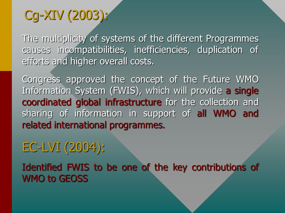 Cg-XIV (2003): The multiplicity of systems of the different Programmes causes incompatibilities, inefficiencies, duplication of efforts and higher ove
