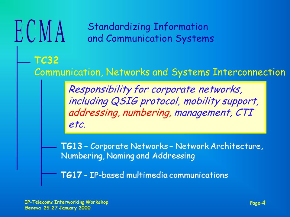 IP-Telecoms Interworking Workshop Geneva 25-27 January 2000 Page -4 Standardizing Information and Communication Systems TC32 Communication, Networks and Systems Interconnection TG13 – Corporate Networks – Network Architecture, Numbering, Naming and Addressing TG17 - IP-based multimedia communications Responsibility for corporate networks, including QSIG protocol, mobility support, addressing, numbering, management, CTI etc.