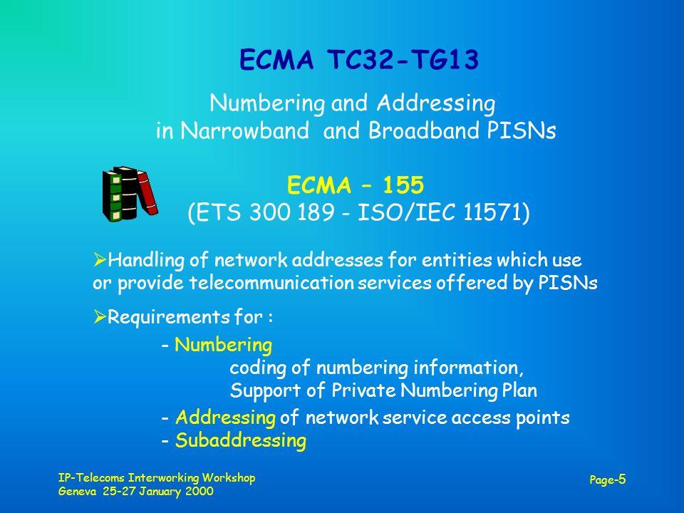 IP-Telecoms Interworking Workshop Geneva 25-27 January 2000 Page -5 ECMA TC32-TG13 Numbering and Addressing in Narrowband and Broadband PISNs ECMA – 1