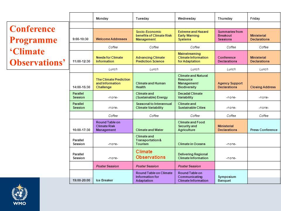 MondayTuesdayWednesdayThursdayFriday 9:00-10:30Welcome Addresses Socio-Economic benefits of Climate Risk Management Extreme and Hazard Early Warning S