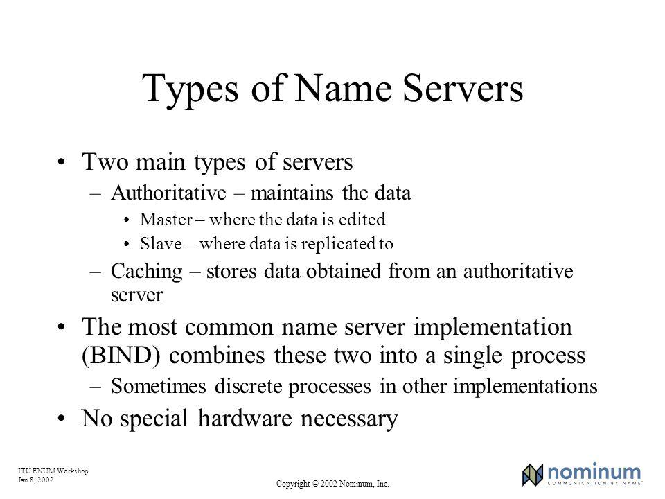 ITU ENUM Workshop Jan 8, 2002 Copyright © 2002 Nominum, Inc. Types of Name Servers Two main types of servers –Authoritative – maintains the data Maste