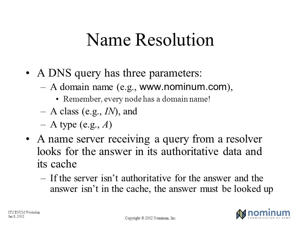 ITU ENUM Workshop Jan 8, 2002 Copyright © 2002 Nominum, Inc. Name Resolution A DNS query has three parameters: –A domain name (e.g., www.nominum.com )