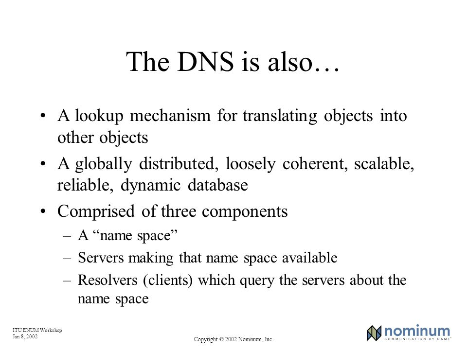 ITU ENUM Workshop Jan 8, 2002 Copyright © 2002 Nominum, Inc. The DNS is also… A lookup mechanism for translating objects into other objects A globally