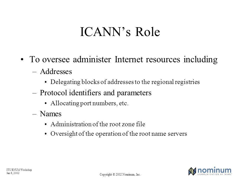 ITU ENUM Workshop Jan 8, 2002 Copyright © 2002 Nominum, Inc. ICANNs Role To oversee administer Internet resources including –Addresses Delegating bloc