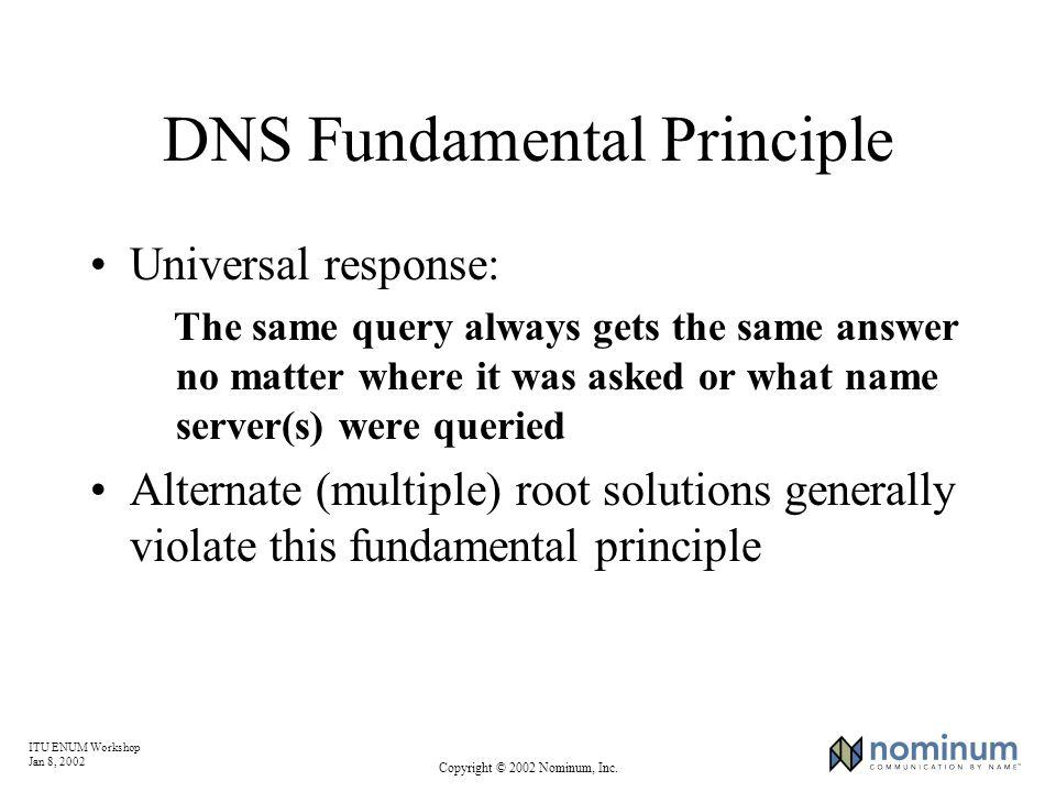 ITU ENUM Workshop Jan 8, 2002 Copyright © 2002 Nominum, Inc. DNS Fundamental Principle Universal response: The same query always gets the same answer