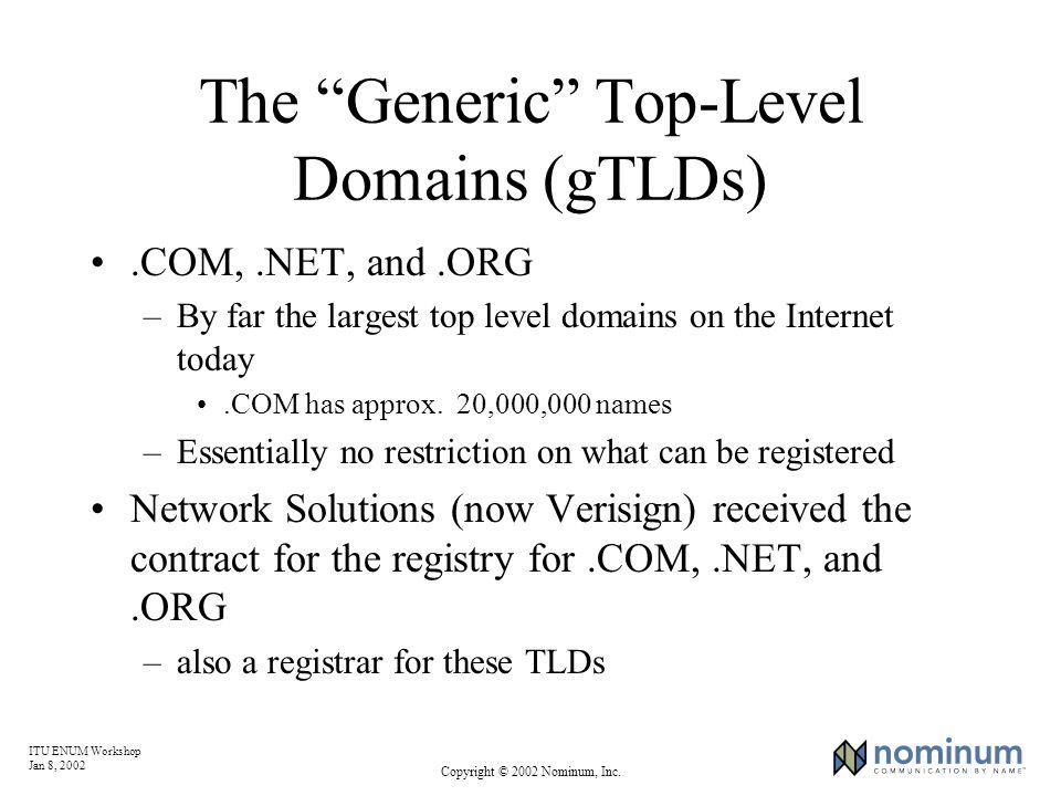 ITU ENUM Workshop Jan 8, 2002 Copyright © 2002 Nominum, Inc. The Generic Top-Level Domains (gTLDs).COM,.NET, and.ORG –By far the largest top level dom