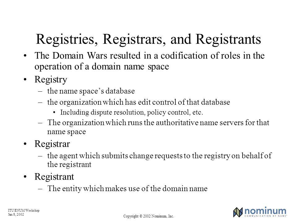 ITU ENUM Workshop Jan 8, 2002 Copyright © 2002 Nominum, Inc. Registries, Registrars, and Registrants The Domain Wars resulted in a codification of rol