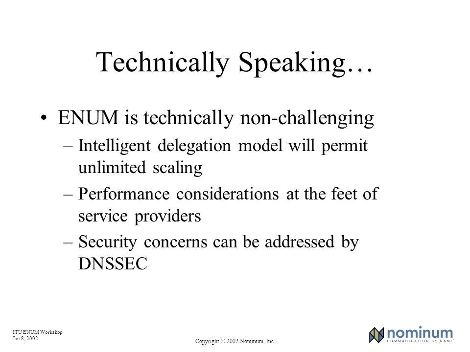 ITU ENUM Workshop Jan 8, 2002 Copyright © 2002 Nominum, Inc. Technically Speaking… ENUM is technically non-challenging –Intelligent delegation model w