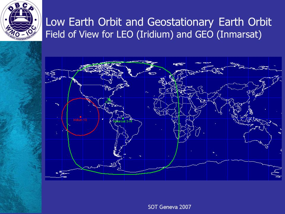 SOT Geneva 2007 Low Earth Orbit and Geostationary Earth Orbit Field of View for LEO (Iridium) and GEO (Inmarsat)