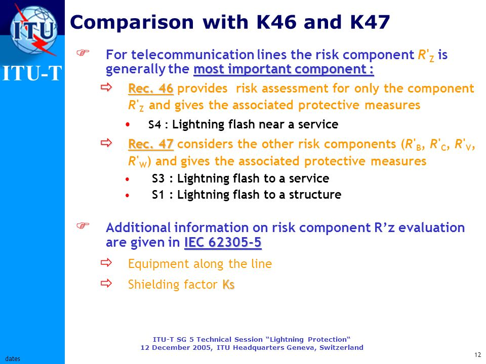 ITU-T ITU-T SG 5 Technical Session Lightning Protection 12 December 2005, ITU Headquarters Geneva, Switzerland 12 dates Comparison with K46 and K47 mo