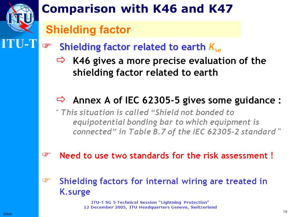 ITU-T ITU-T SG 5 Technical Session Lightning Protection 12 December 2005, ITU Headquarters Geneva, Switzerland 16 dates Comparison with K46 and K47 Sh