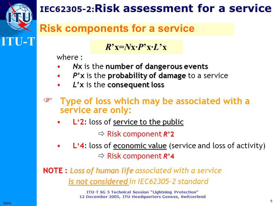 ITU-T ITU-T SG 5 Technical Session Lightning Protection 12 December 2005, ITU Headquarters Geneva, Switzerland 6 dates IEC62305-2: Risk assessment for a service where : number of dangerous eventsNx is the number of dangerous events probability of damagePx is the probability of damage to a service consequent lossLx is the consequent loss Type of loss which may be associated with a service are only: service to the publicL 2: loss of service to the public R2 Risk component R2 economic value R4L 4: loss of economic value (service and loss of activity) Risk component R4 NOTE : Loss of human life NOTE : Loss of human life associated with a service is not considered is not considered in IEC62305-2 standard Rx=Nx·Px·Lx Risk components for a service