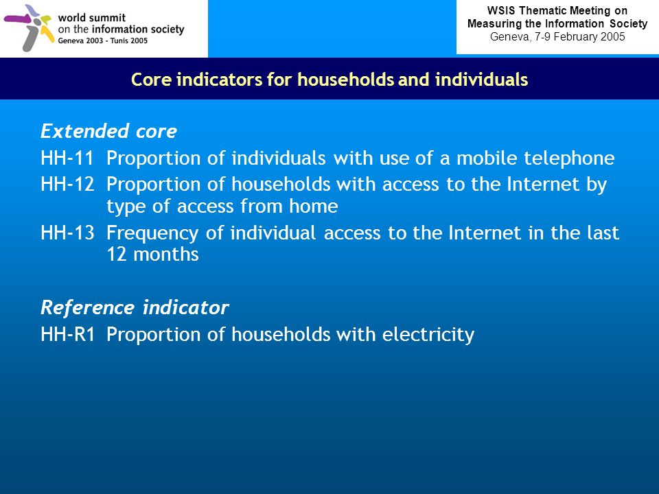Core indicators for households and individuals Extended core HH-11Proportion of individuals with use of a mobile telephone HH-12Proportion of households with access to the Internet by type of access from home HH-13Frequency of individual access to the Internet in the last 12 months Reference indicator HH-R1Proportion of households with electricity WSIS Thematic Meeting on Measuring the Information Society Geneva, 7-9 February 2005