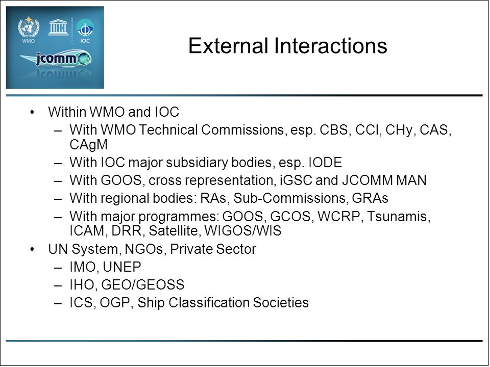 External Interactions Within WMO and IOC –With WMO Technical Commissions, esp.