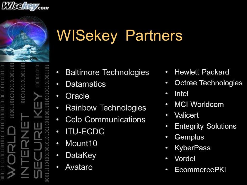 WISekey Partners Baltimore Technologies Datamatics Oracle Rainbow Technologies Celo Communications ITU-ECDC Mount10 DataKey Avataro Hewlett Packard Oc