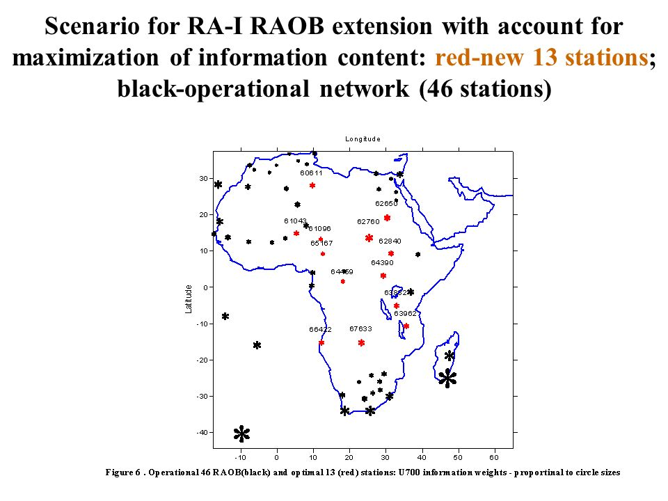 Scenario for RA-I RAOB extension with account for maximization of information content: red-new 13 stations; black-operational network (46 stations)