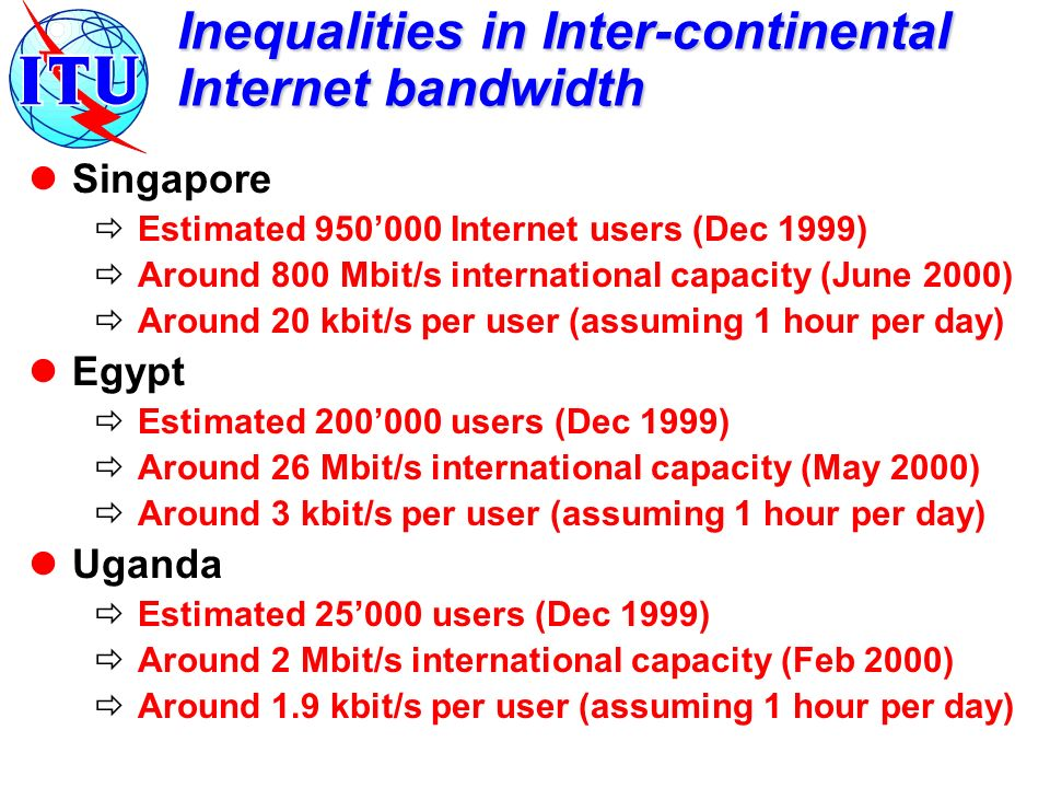 Inequalities in Inter-continental Internet bandwidth Singapore Estimated 950000 Internet users (Dec 1999) Around 800 Mbit/s international capacity (Ju