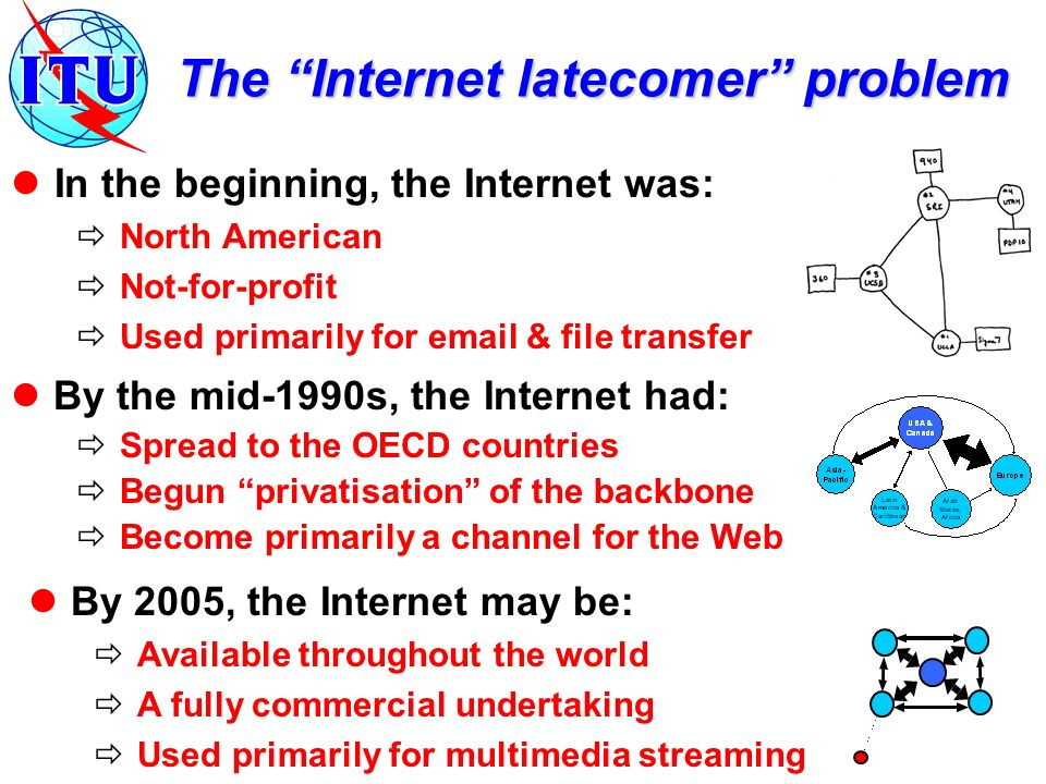 By 2005, the Internet may be: Available throughout the world A fully commercial undertaking Used primarily for multimedia streaming The Internet latecomer problem In the beginning, the Internet was: North American Not-for-profit Used primarily for  & file transfer By the mid-1990s, the Internet had: Spread to the OECD countries Begun privatisation of the backbone Become primarily a channel for the Web