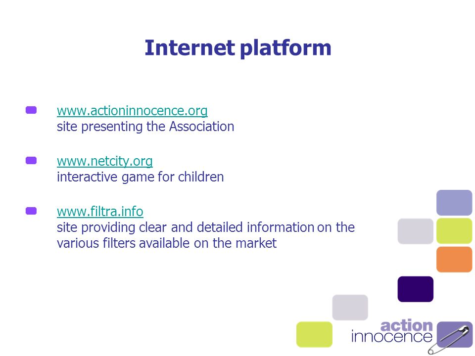 site presenting the Association     interactive game for children     site providing clear and detailed information on the various filters available on the market Internet platform