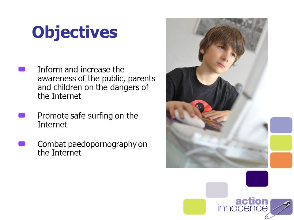 Objectives Inform and increase the awareness of the public, parents and children on the dangers of the Internet Promote safe surfing on the Internet Combat paedopornography on the Internet