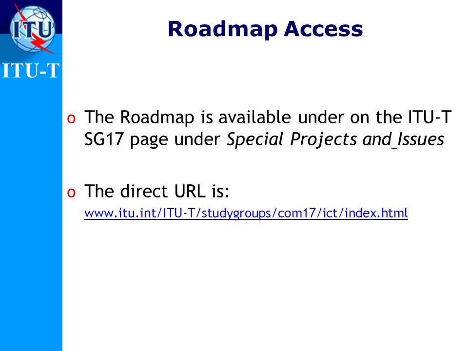 ITU-T Some useful web resources o ITU-T Home page www.itu.int/itu-t o Study Group 17 www.itu.int/itu-t/studygroups/com17www.itu.int/itu-t/studygroups/com17 e-mail: tsbsg17@itu.inttsbsg17@itu.int o Recommendations www.itu.int/ITU-T/publications/recs.htmlwww.itu.int/ITU-T/publications/recs.html o ITU-T Lighthouse www.itu.int/ITU-T/lighthousewww.itu.int/ITU-T/lighthouse o ITU-T Workshops www.itu.int/ITU-T/worksemwww.itu.int/ITU-T/worksem o Roadmap www.itu.int/ITU-T/studygroups/com17/ict/index.html www.itu.int/ITU-T/studygroups/com17/ict/index.html http://www.itu.int/cybersecurity http://www.itu.int/cybersecurity o Cybersecurity Portal http://www.itu.int/cybersecurityhttp://www.itu.int/cybersecurity