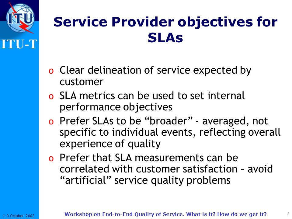 ITU-T 8 1-3 October 2003 Workshop on End-to-End Quality of Service.
