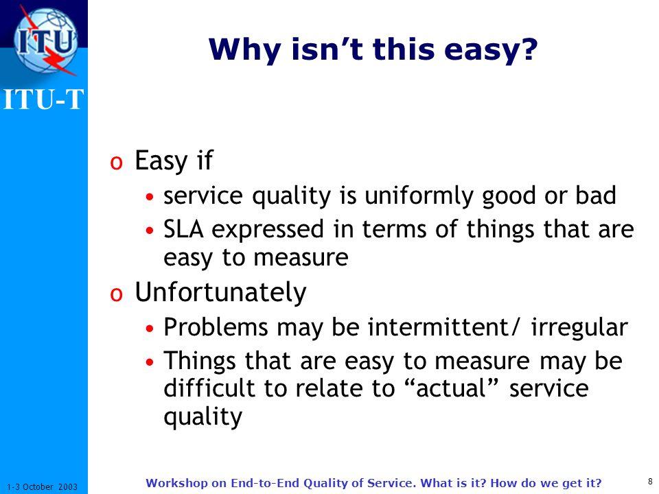 ITU-T 9 1-3 October 2003 Workshop on End-to-End Quality of Service.