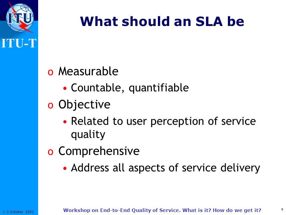 ITU-T 10 1-3 October 2003 Workshop on End-to-End Quality of Service.