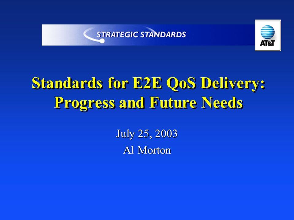 Standards for E2E QoS Delivery: Progress and Future Needs July 25, 2003 Al Morton