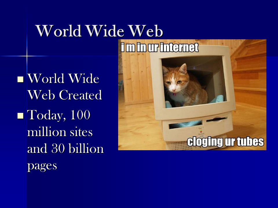 World Wide Web World Wide Web Created World Wide Web Created Today, 100 million sites and 30 billion pages Today, 100 million sites and 30 billion pag