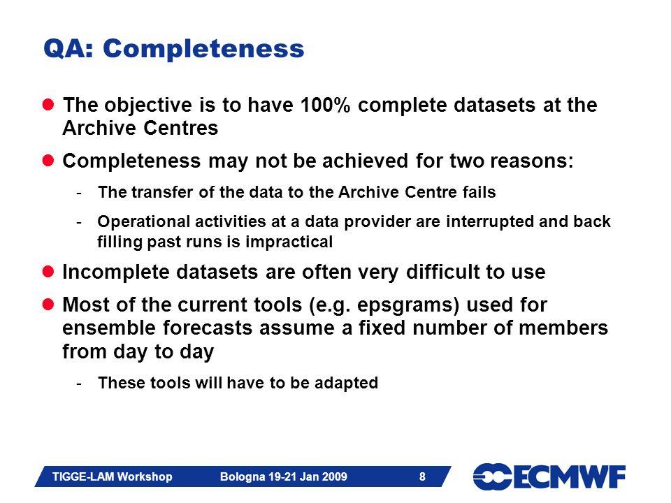 Slide 9 TIGGE-LAM Workshop Bologna 19-21 Jan 2009 9 QA: Checking completeness