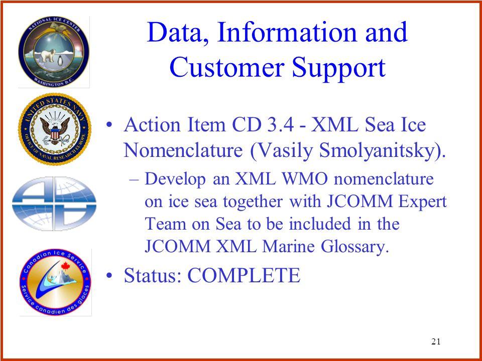 21 Data, Information and Customer Support Action Item CD 3.4 - XML Sea Ice Nomenclature (Vasily Smolyanitsky).