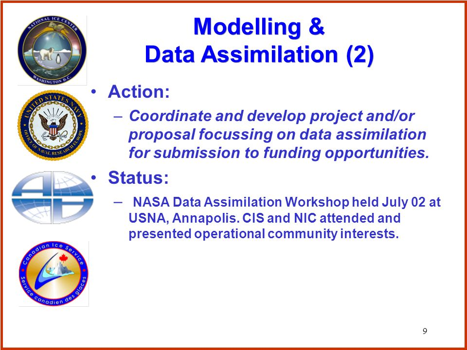 9 Action: –Coordinate and develop project and/or proposal focussing on data assimilation for submission to funding opportunities.