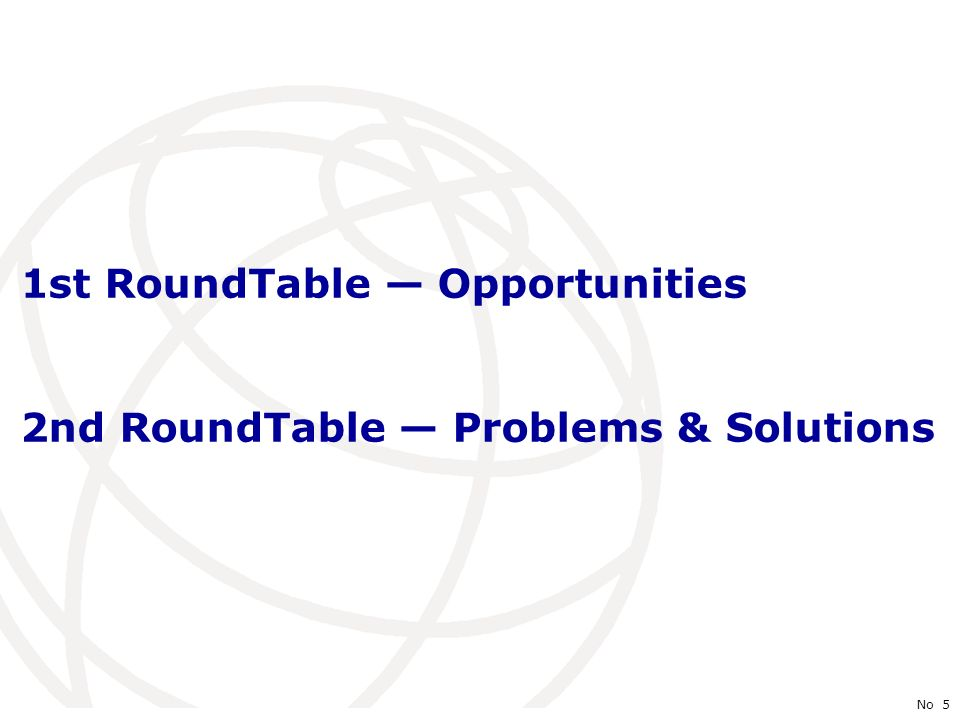 International Telecommunication Union No 5 1st RoundTable Opportunities 2nd RoundTable Problems & Solutions