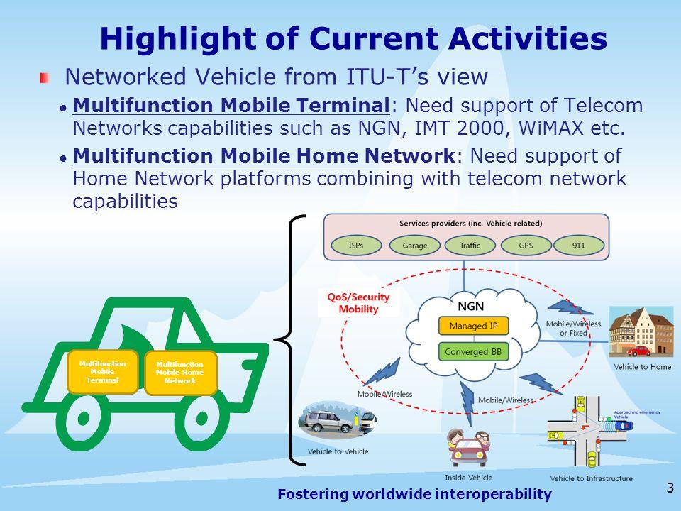 Fostering worldwide interoperability 4 Geneva, 13-16 July 2009 Highlight of Current Activities Vehicle Gateway Platform (ITU-T SG16) SSTD… Home Network (inc.
