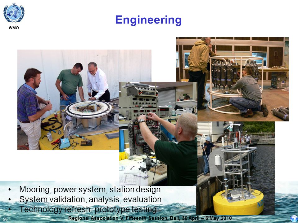 WMO 25 Mooring, power system, station design System validation, analysis, evaluation Technology refresh, prototype testing Engineering Regional Associ