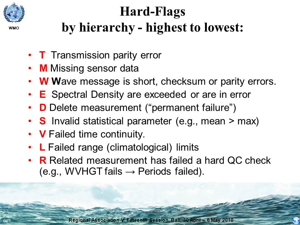 WMO 59 Hard-Flags by hierarchy - highest to lowest: T Transmission parity error M Missing sensor data W Wave message is short, checksum or parity erro