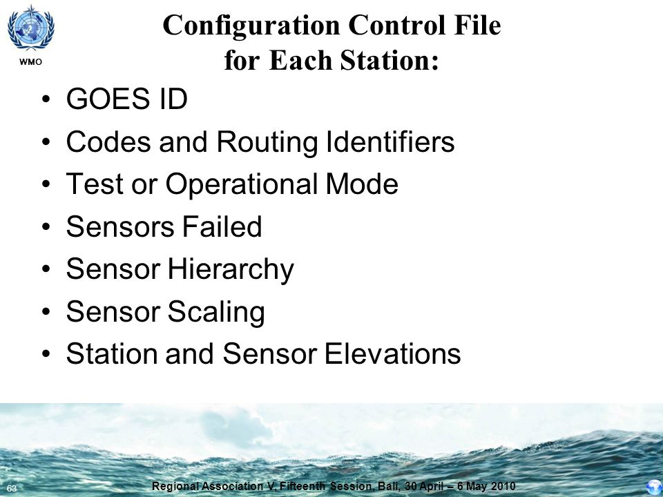 WMO 63 Configuration Control File for Each Station: GOES ID Codes and Routing Identifiers Test or Operational Mode Sensors Failed Sensor Hierarchy Sen