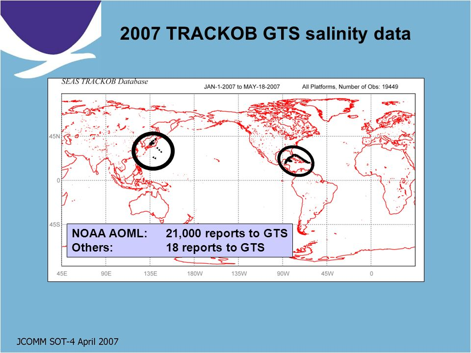 2007 TRACKOB GTS salinity data NOAA AOML: 21,000 reports to GTS Others:18 reports to GTS