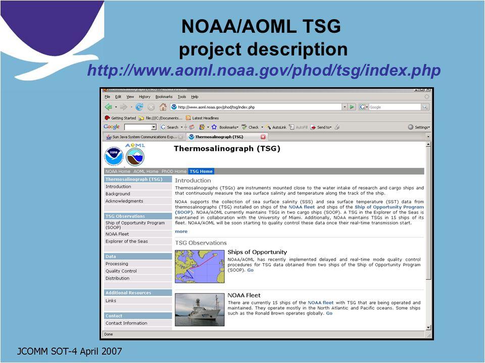 NOAA/AOML TSG project description http://www.aoml.noaa.gov/phod/tsg/index.php