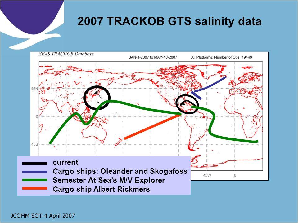 2007 TRACKOB GTS salinity data current Cargo ships: Oleander and Skogafoss Semester At Seas M/V Explorer Cargo ship Albert Rickmers